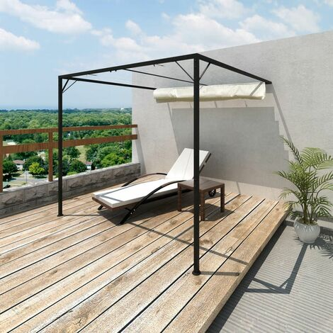 Hommoo Garden Patio Awning Sun Shade Canopy Wall Gazebo QAH26252