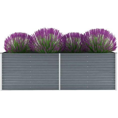 Hommoo Garden Planter Galvanised Steel 240x80x77cm Grey VD29020