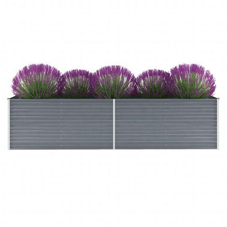 Hommoo Garden Planter Galvanised Steel 320x80x77cm Grey VD29024