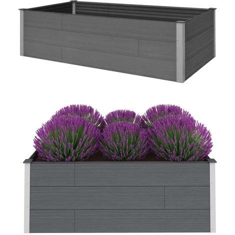 Hommoo Garden Planter Grey 200x100x54 cm WPC