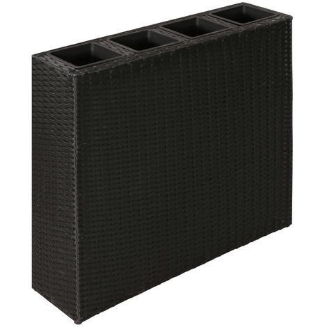 Hommoo Garden Planter with 4 Pots Poly Rattan Black VD26348