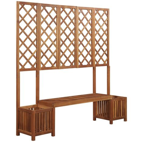 Hommoo Garden Planter with Bench and Trellis Solid Acacia Wood