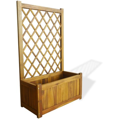Hommoo Garden Planter with Trellis Solid Acacia Wood VD28036