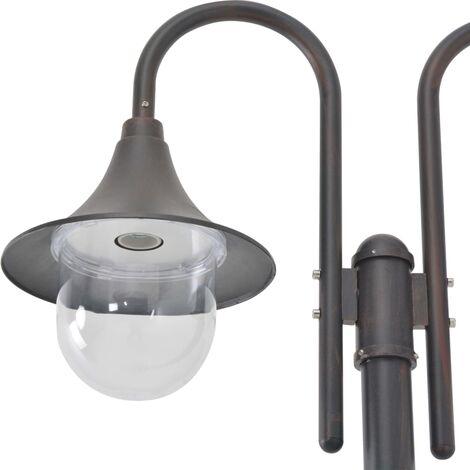 Hommoo Garden Post Light E27 220 cm Aluminium 2-Lantern Bronze QAH28416