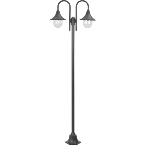 Hommoo Garden Post Light E27 220 cm Aluminium 2-Lantern Bronze VD28416