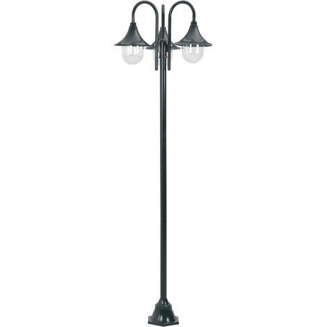 Hommoo Garden Post Light E27 220 cm Aluminium 3-Lantern Dark Green QAH28423
