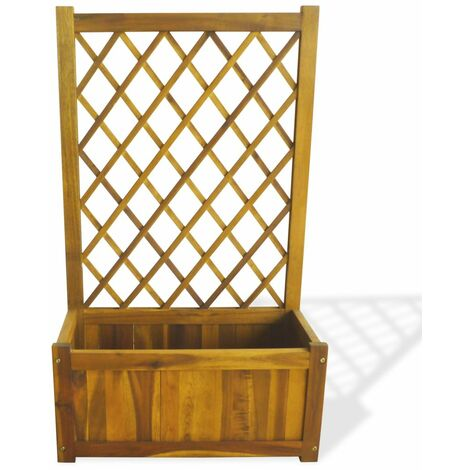 Hommoo Garden Raised Bed with Trellis Solid Acacia Wood QAH28036