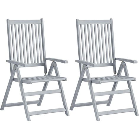 Hommoo Garden Reclining Chairs 2 pcs Grey Solid Acacia Wood VD29914