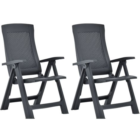 Hommoo Garden Reclining Chairs 2 pcs Plastic Anthracite