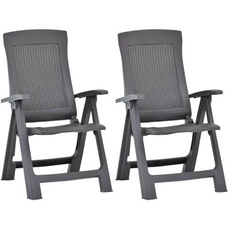 Hommoo Garden Reclining Chairs 2 pcs Plastic Mocca