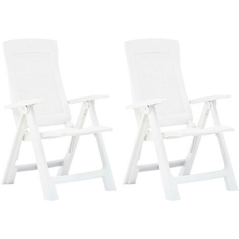 Hommoo Garden Reclining Chairs 2 pcs Plastic White