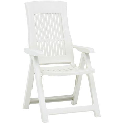 Hommoo Garden Reclining Chairs 2 pcs Plastic White QAH46655