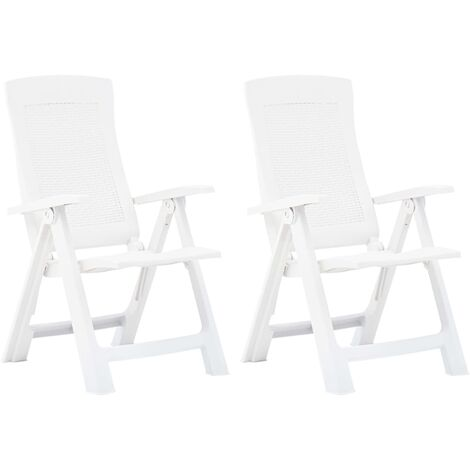 Hommoo Garden Reclining Chairs 2 pcs Plastic White VD46652