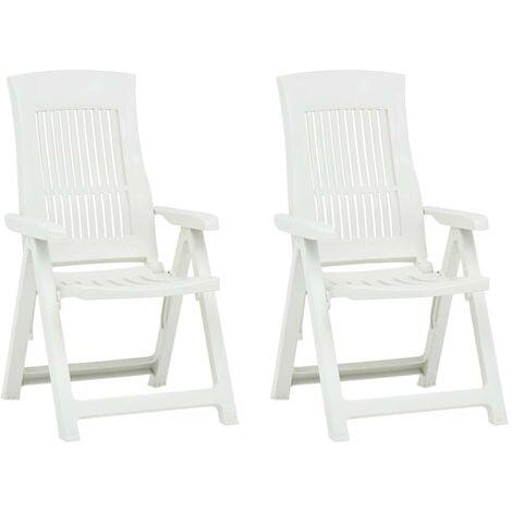 Hommoo Garden Reclining Chairs 2 pcs Plastic White VD46655