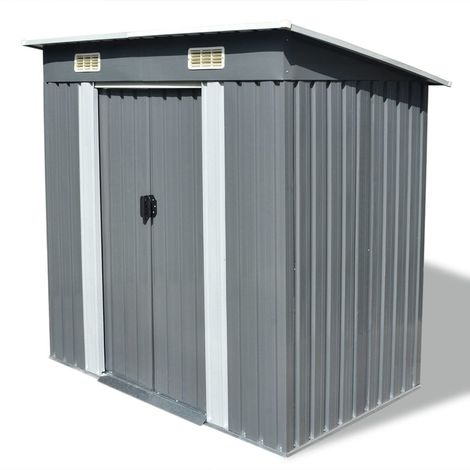 "main image of ""Hommoo Garden Shed Grey Metal VD27431"""