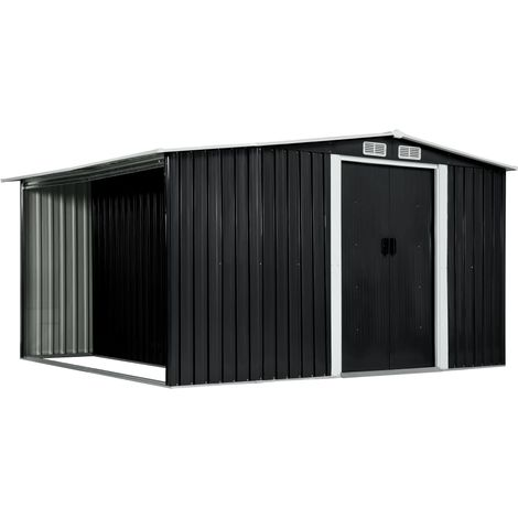 Hommoo Garden Shed with Sliding Doors Anthracite 329.5x259x178 cm Steel