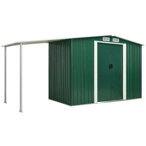 Hommoo Garden Shed with Sliding Doors Green 386x131x178 cm Steel