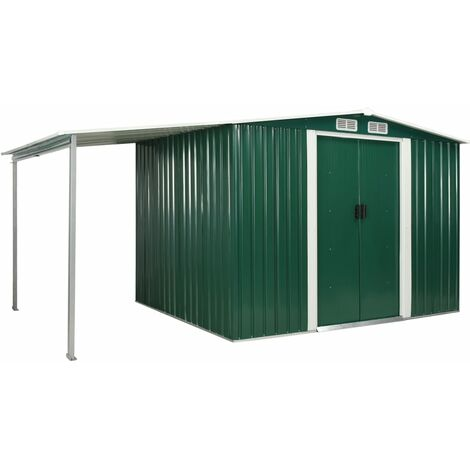 Hommoo Garden Shed with Sliding Doors Green 386x205x178 cm Steel QAH05889