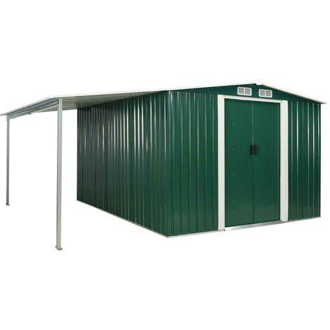 Hommoo Garden Shed with Sliding Doors Green 386x312x178 cm Steel