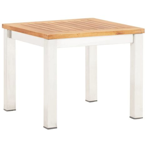 Hommoo Garden Side Table 45x45x38 cm Solid Acacia Wood and Stainless Steel