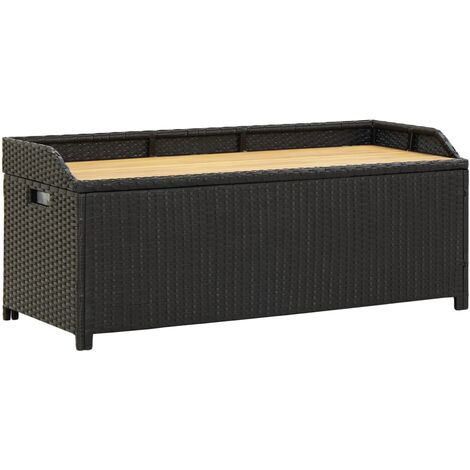 Hommoo Garden Storage Bench 120 cm Poly Rattan Black