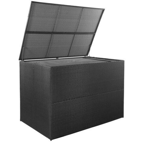 Hommoo Garden Storage Box Black 150x100x100 cm Poly Rattan QAH28452