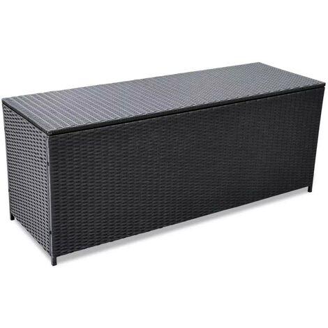 Hommoo Garden Storage Box Black 150x50x60 cm Poly Rattan
