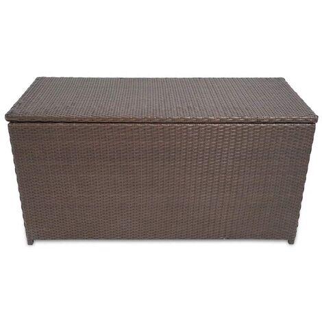 Hommoo Garden Storage Box Brown 120x50x60 cm Poly Rattan QAH27046