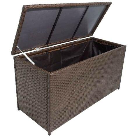 Hommoo Garden Storage Box Brown 120x50x60 cm Poly Rattan VD27046