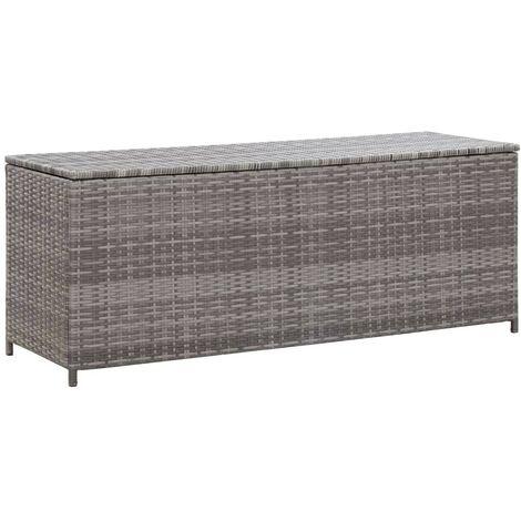 Hommoo Garden Storage Box Grey 120x50x60 cm Poly Rattan VD45530