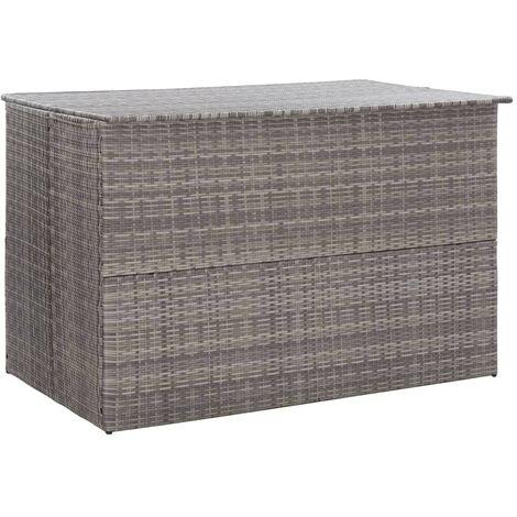 Hommoo Garden Storage Box Grey 150x100x100 cm Poly Rattan