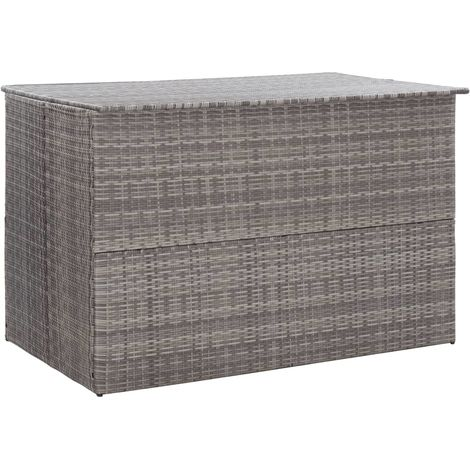 Hommoo Garden Storage Box Grey 150x100x100 cm Poly Rattan VD45535