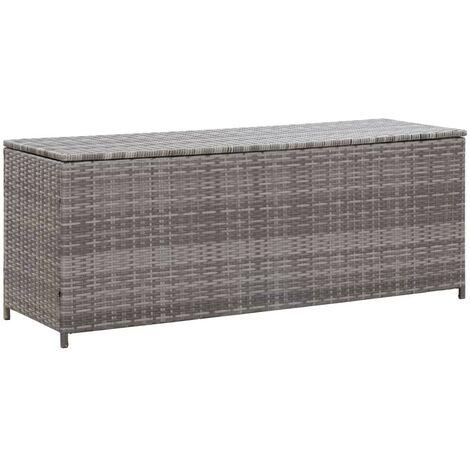 Hommoo Garden Storage Box Grey 150x50x60 cm Poly Rattan
