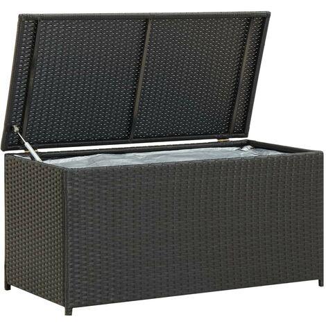 Hommoo Garden Storage Box Poly Rattan 100x50x50 cm Black VD30005