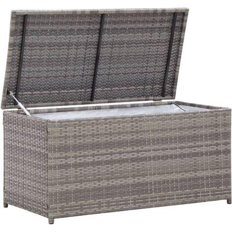 Hommoo Garden Storage Box Poly Rattan 100x50x50 cm Grey QAH45538