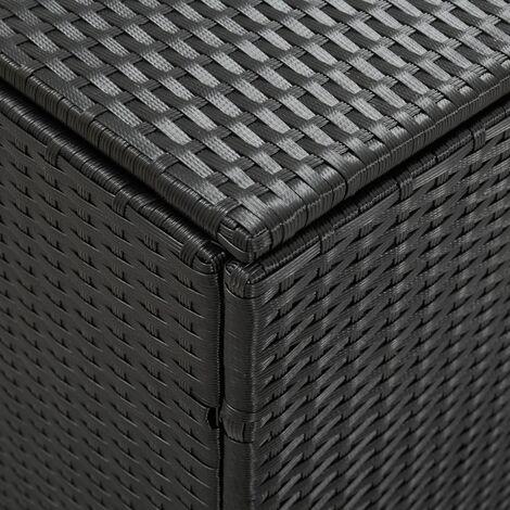 Hommoo Garden Storage Box Poly Rattan 180x90x75 cm Black QAH30010
