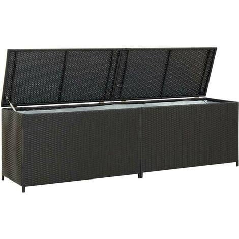 "main image of ""Hommoo Garden Storage Box Poly Rattan 200x50x60 cm Black VD30007"""