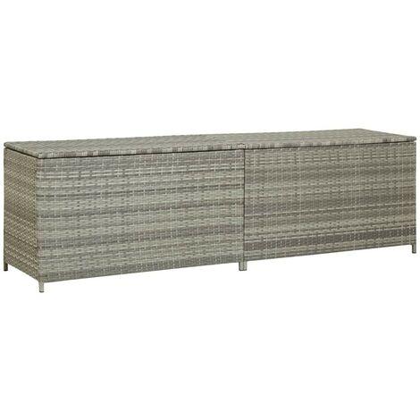 "main image of ""Hommoo Garden Storage Box Poly Rattan 200x50x60 cm Grey VD30009"""