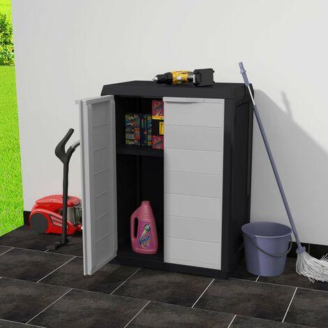 Hommoo Garden Storage Cabinet with 1 Shelf Black and Grey QAH27994