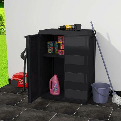 Hommoo Garden Storage Cabinet with 1 Shelf Black QAH27993