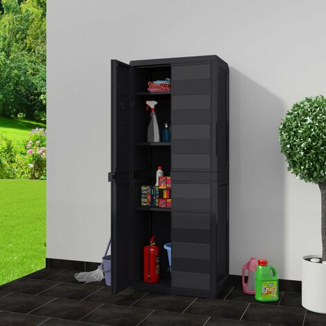 Hommoo Garden Storage Cabinet with 3 Shelves Black QAH27989