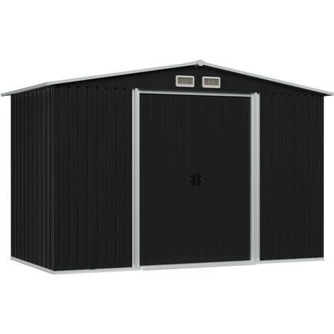Hommoo Garden Storage Shed Anthracite Steel 257x205x178 cm VD30187