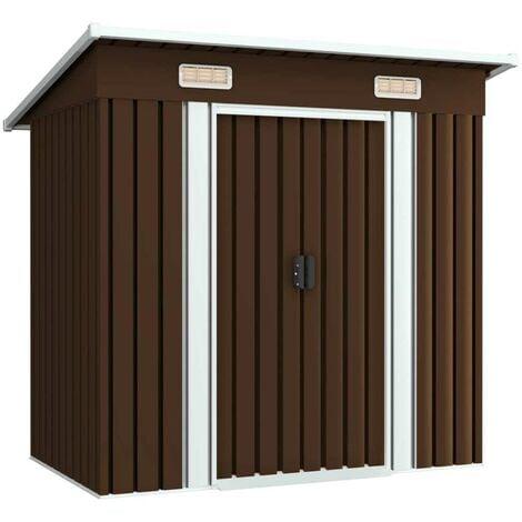 Hommoo Garden Storage Shed Brown 194x121x181 cm Steel VD30184