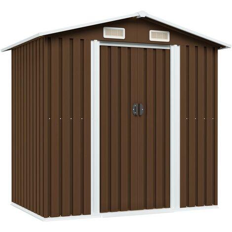 Hommoo Garden Storage Shed Brown 204x132x186 cm Steel VD30186