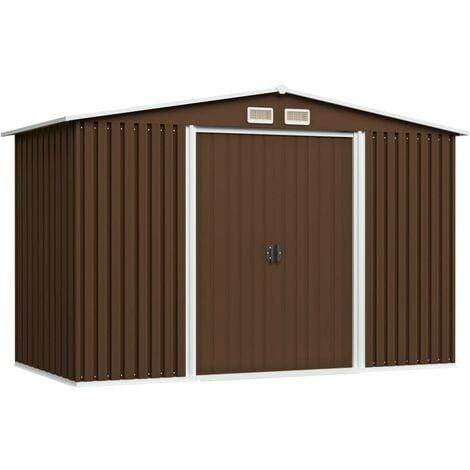 Hommoo Garden Storage Shed Brown 257x205x178 cm Steel VD30188