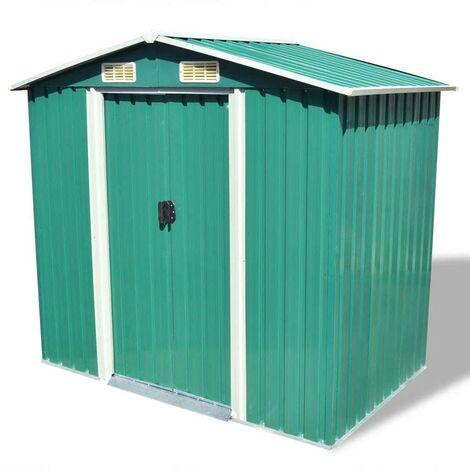 Hommoo Garden Storage Shed Green Metal 204x132x186 cm VD27374