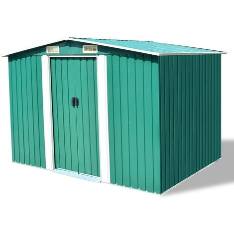 Hommoo Garden Storage Shed Green Metal 257x205x178 cm