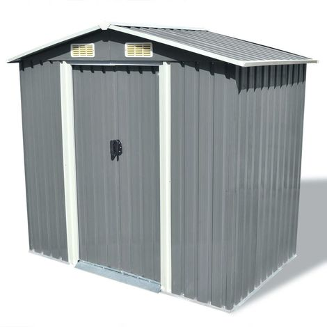 Hommoo Garden Storage Shed Grey Metal 204x132x186 cm
