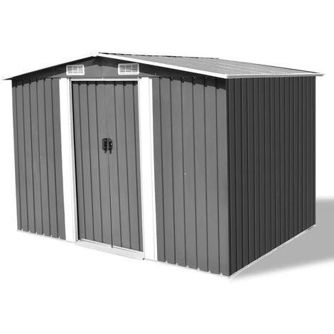 Hommoo Garden Storage Shed Grey Metal 257x205x178 cm