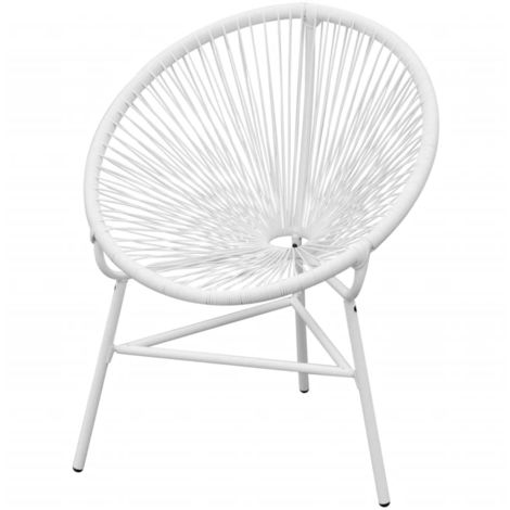 Hommoo Garden String Moon Chair Poly Rattan White VD26796